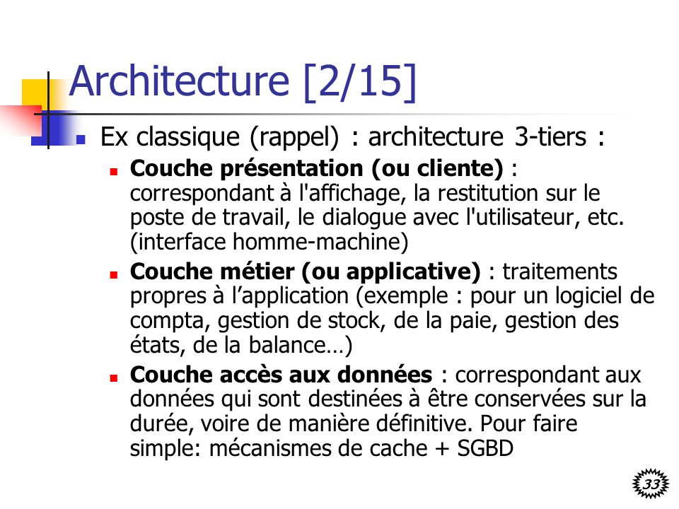 Architecture [2/15] Ex classique (rappel) : architecture 3-tiers :